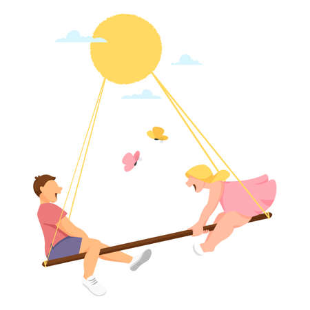 children on the swing. vector illustration of happy children. boy and girl