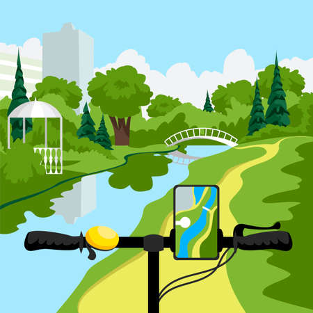 bicycle handlebar. plotting a route on your smartphone. bike ride in the park 矢量图像