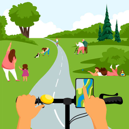 people in nature. bike ride in the park. vector landscape 矢量图像