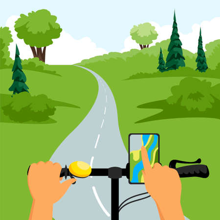 hands on the handlebars of the bike. plotting a route. cycling in nature