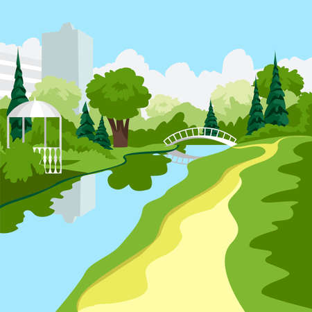 city park. vector image of a walking area in the park. nature. trees and river 矢量图像