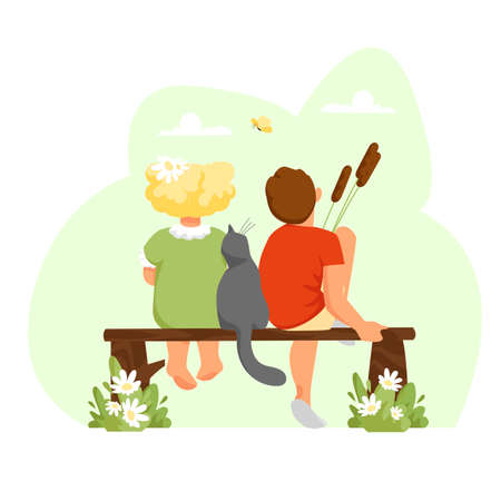 a boy and a girl. children with a cat. kids in nature. children rear view. vector