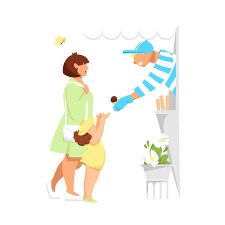 ice cream sales. the mother buys the child ice cream. vector illustration