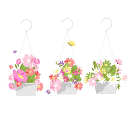 a set of vector isolated images of home flowers in pots. colorful plants