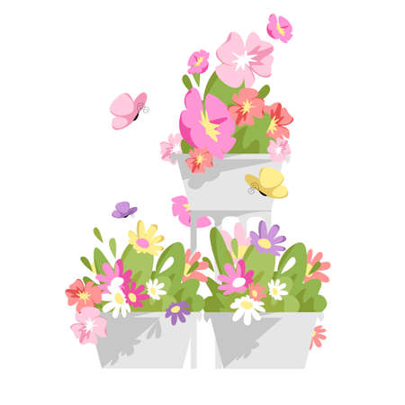 potted flowers. vector illustration of a flower arrangement with butterflies
