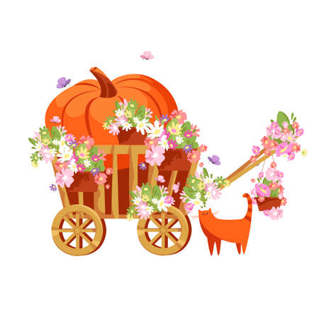 a pumpkin in a cart. autumn illustration with flowers and a cat. vector