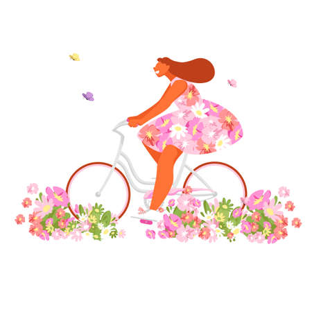 a girl on a bicycle. vector illustration of a woman in a colored dress on a bike. pink flowers 矢量图像
