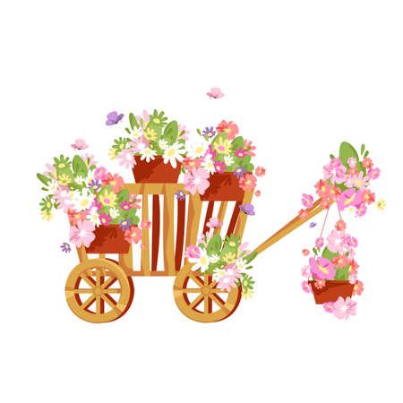 cart and flowers. flower arrangement with a wooden wheelbarrow. vector illustration