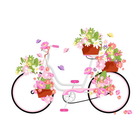 bicycle and flowers. vintage bike for women. flower decoration on a bicycle. vector illustration