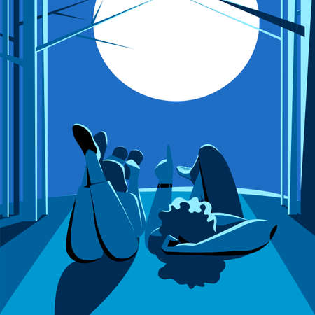 people look at the moon at night. vector illustration of a couple in the night forest