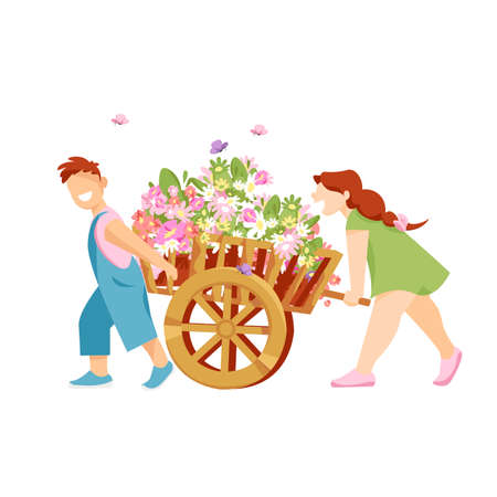 children with flowers. kids carry bouquets of colorful flowers on a cart. vector illustration