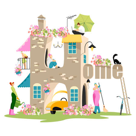house. people in the house. people at home. apartment building. vector illustration