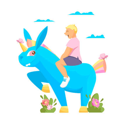 a boy on a unicorn. vector illustration of a child sitting on a mythical horse 矢量图像
