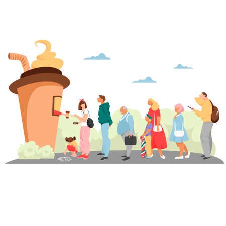 queue. people stand in a line. vector image of men and women with children. coffee sales