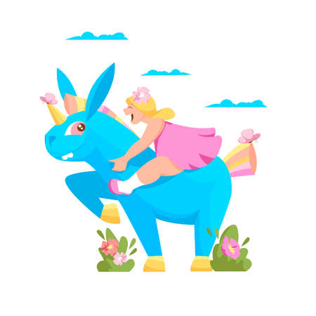 a girl on a unicorn. vector illustration of a child sitting on a blue mythical horse