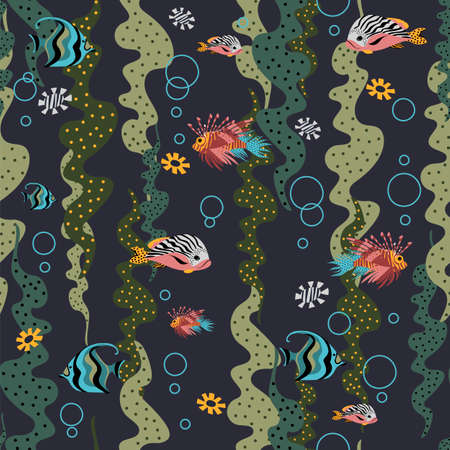 underwater world. seamless pattern. vector background with fish and algae
