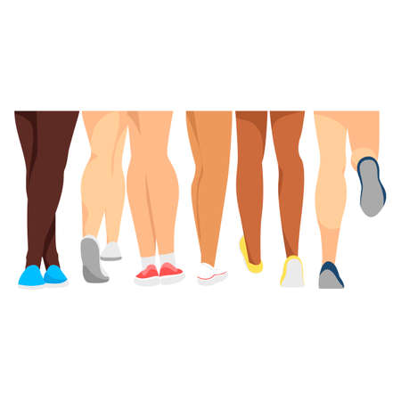 athletic legs. women. vector illustration. feet in sports shoes