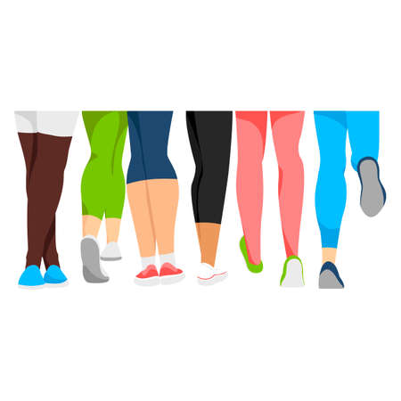 athletic legs. women. vector illustration of feet in sportswear and shoes 矢量图像