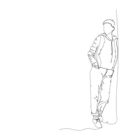 a man stands against a wall. linear vector illustration. one line. continuous line