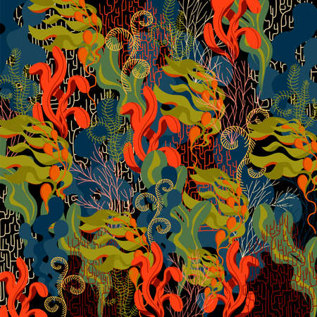 underwater plants. vector background. seaweed and coral