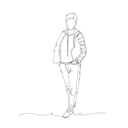 human. vector illustration. one line. a continuous line. contour drawing 矢量图像