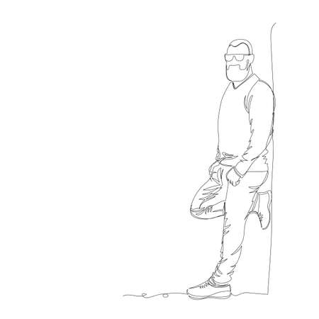 a man stands against a wall. vector illustration. one line. a continuous line. contour drawing 矢量图像