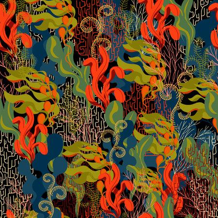 underwater plants. vector seamless pattern. marine backg