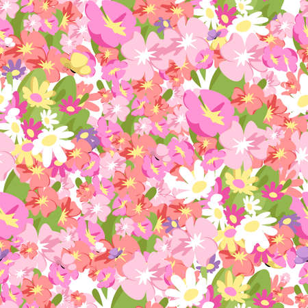 pink flowers. vector seamless pattern. floral background
