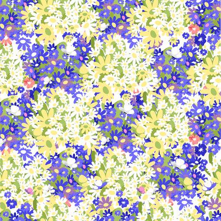 blue flowers. seamless pattern. vector flower background
