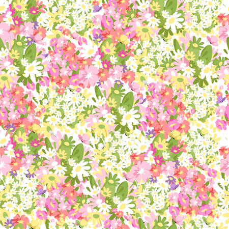 white and pink flowers. seamless pattern. vector flower background