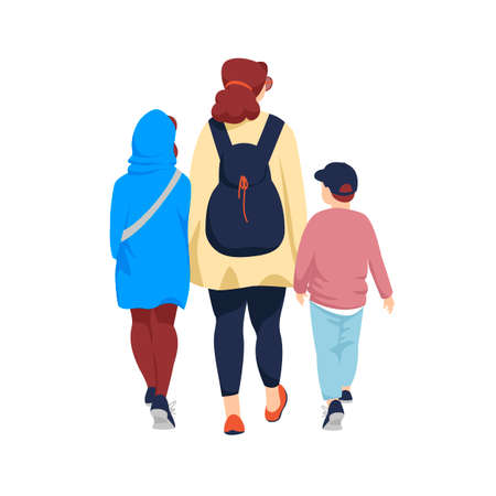 people in the back. a mother with children. vector image of people rear view