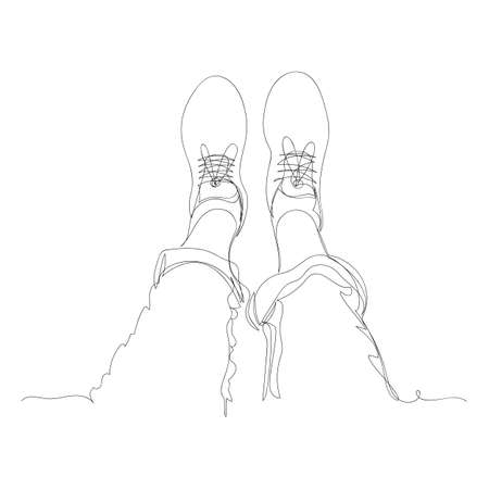 legs. vector image of the legs. one continuous line. vector illustration. sketch