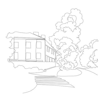 city. vector image. graphic drawing. one continuous line. one line