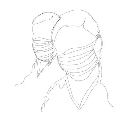 people in masks. medical masks. a respirator. one line. linear contour vector drawing