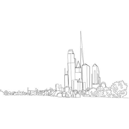 urban landscape. contour view of the city. one continuous line. vector illustration