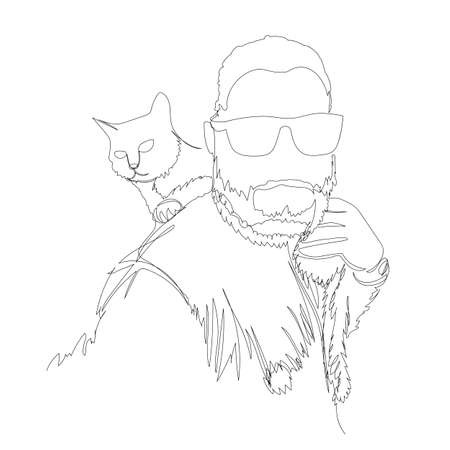 a man and a cat. one line. vector illustration. contour drawing