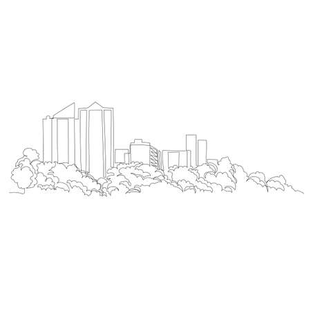 urban landscape. vector image. graphic drawing of the city. one continuous line. one line 矢量图像