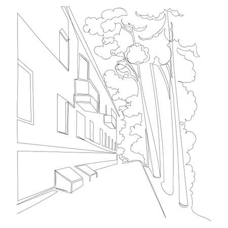 a country town. vector image. graphic drawing of the city. one continuous line. one line 矢量图像