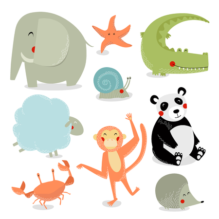 Vector set of cartoon animals. Wild animals. Animals are africa. Cartoon characters.