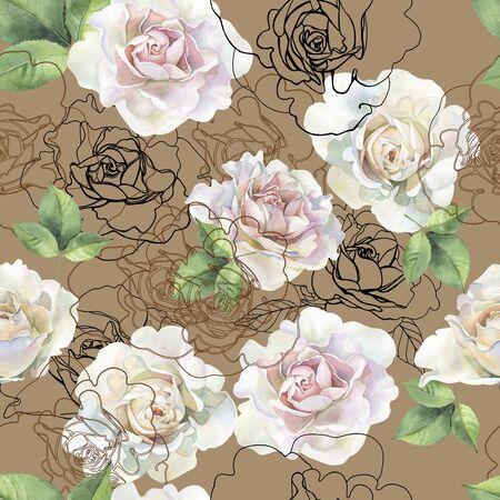Modèle sans couture de roses aquarelles et graphiques Banque d'images