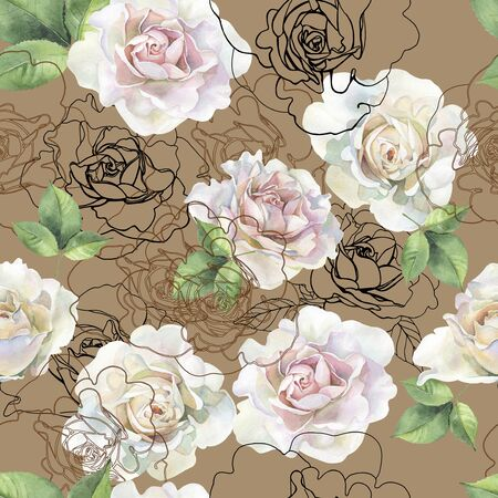 Seamless pattern of watercolor roses and graphics Stockfoto