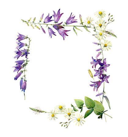 Square frame of flowers on a white background