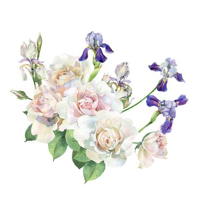 Bouquet of watercolor roses and irises Фото со стока
