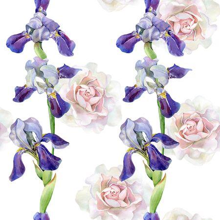 Seamless watercolor pattern of roses , irises Фото со стока