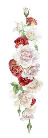 Watercolor composition of red and pink roses