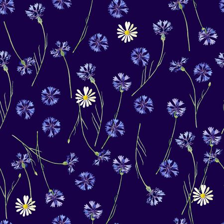 Seamless pattern of watercolor cornflowers and daisies