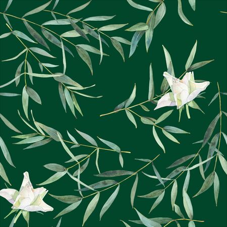 Seamless pattern of watercolor leaves of eucalyptus and roses 写真素材