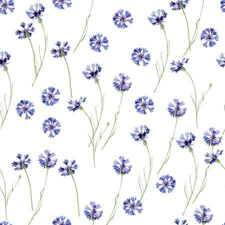 Seamless pattern of watercolor cornflowers