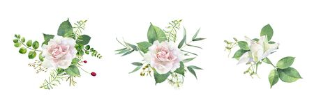 Watercolor composition of roses on a white background Фото со стока