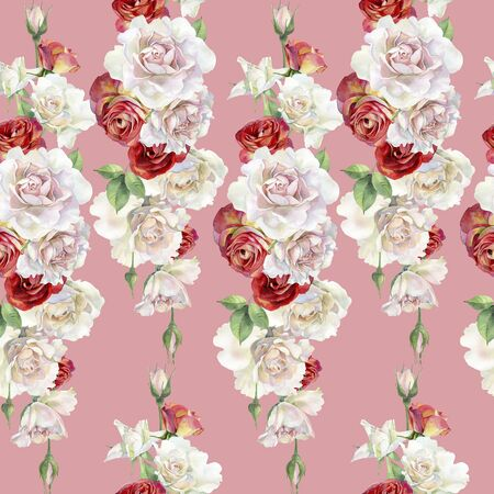 Seamless pattern of watercolor red and pink roses. Archivio Fotografico